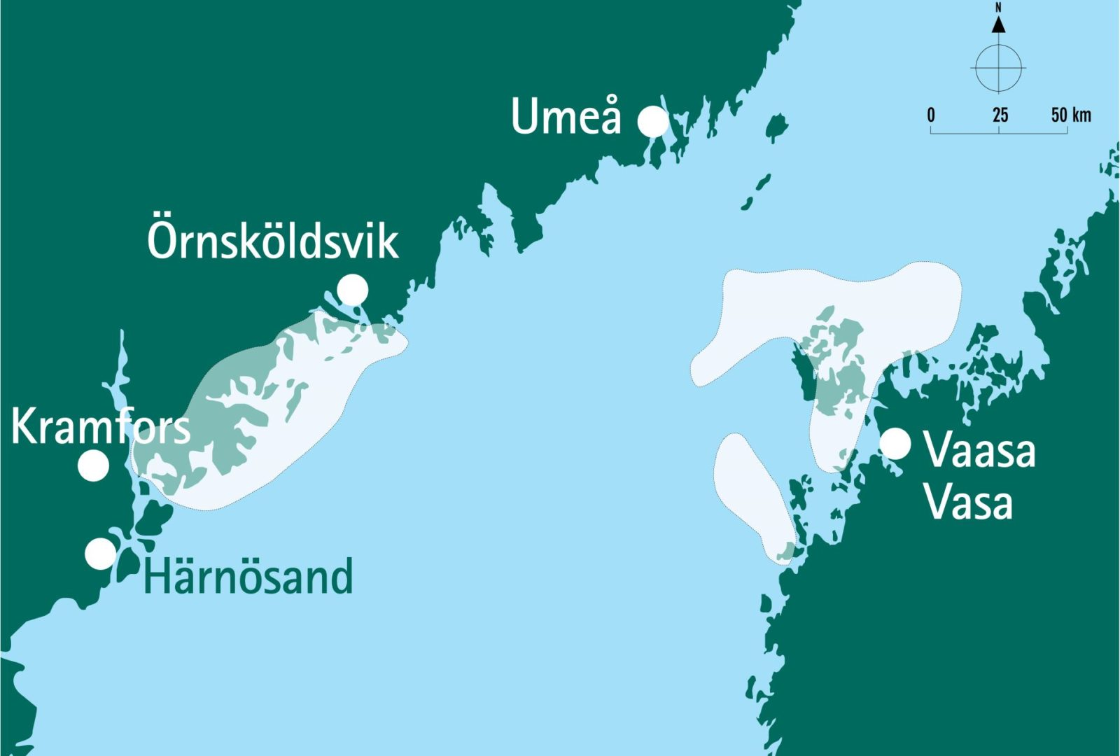 A map presenting the transboundary World Heritage Site of High Coast and Kvarken Archipelago in Sweden and in Finland.
